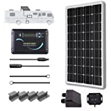 Renogy 100 Watts 12 Volts Monocrystalline Solar RV Kit Off-Grid Kit with 30A PWM LCD Charge Controller + Mounting Brackets + MC4 Connectors + Solar Cables + Cable Entry housing
