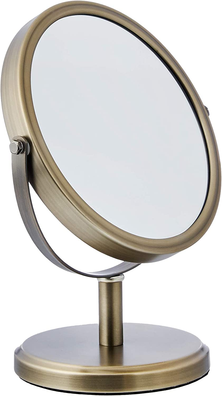 AmazonBasics Modern Dual Sided Magnification Makeup Vanity Mirror, Standard, Pewter