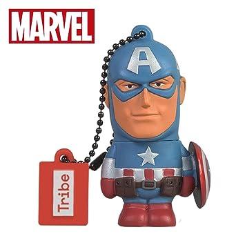 Tribe Disney Marvel Avengers Captain America - Memoria USB 2.0 de 16 GB Pendrive Flash Drive de Goma con Llavero, Color Azul