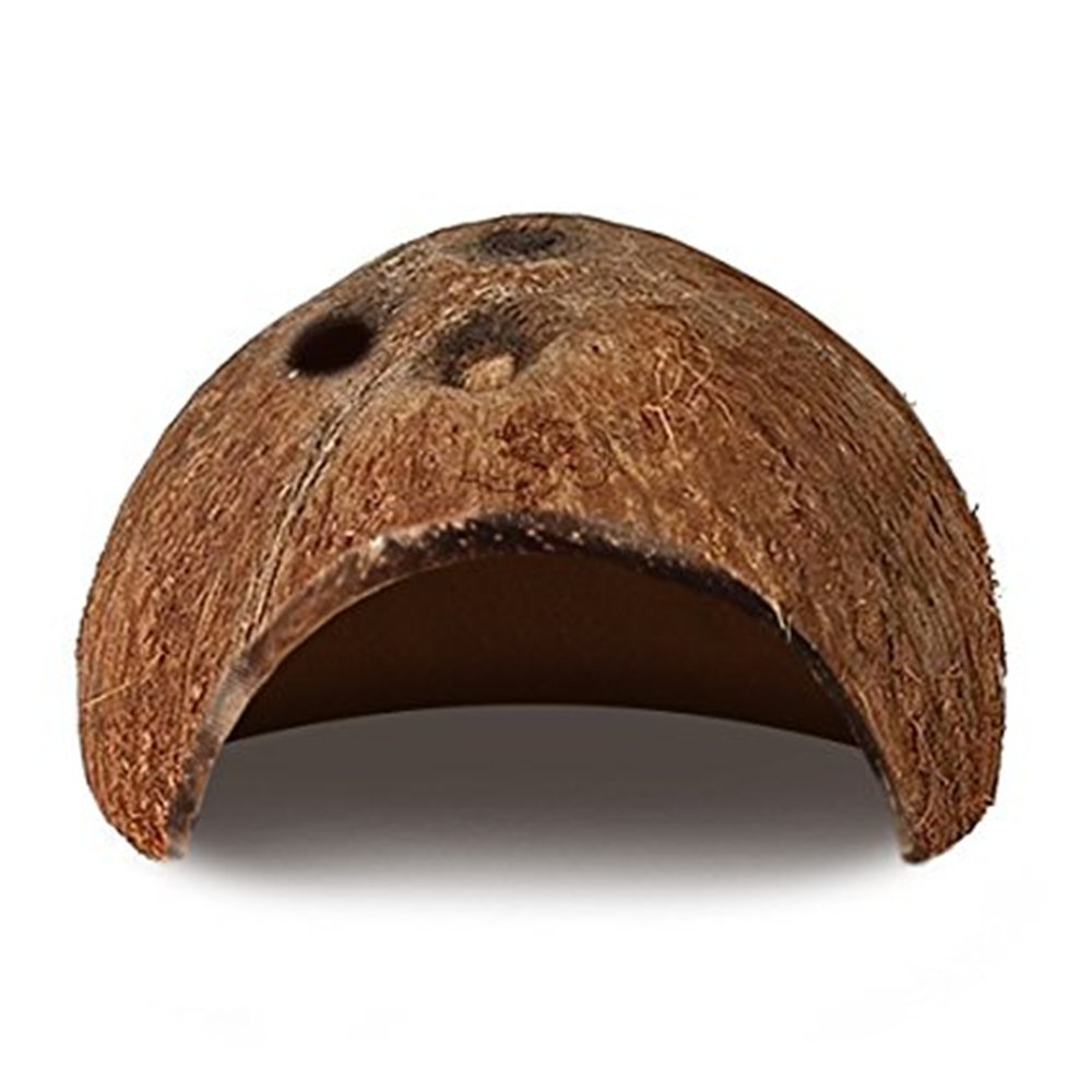 DREAMER.U Natural Coco Hut - Eco Friendly, Non-toxic, Made of Real coconut : Smooth Edges, Comfortable & Cute Hideout: Suitable for fish, pet snakes, small lizards, tarantulas, scorpions, centipede