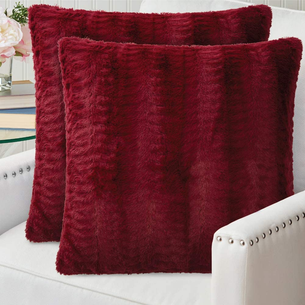 The Connecticut Home Company Original Faux Fur PIllowcases Set of 2, Decorative Case Sets, Many Colors, Throw Pillow Covers, Luxury Soft cases for Bedroom, Living Room Sofa, Couch and Bed 20x20 Merlot