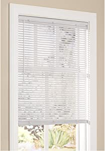 "Lumino Vinyl Mini Blinds 1 Inch Cordless Room Darkening in White - 31"" W x 64"" H (Over 500 Add'l Custom Cut Sizes) - Starting at $9.97"