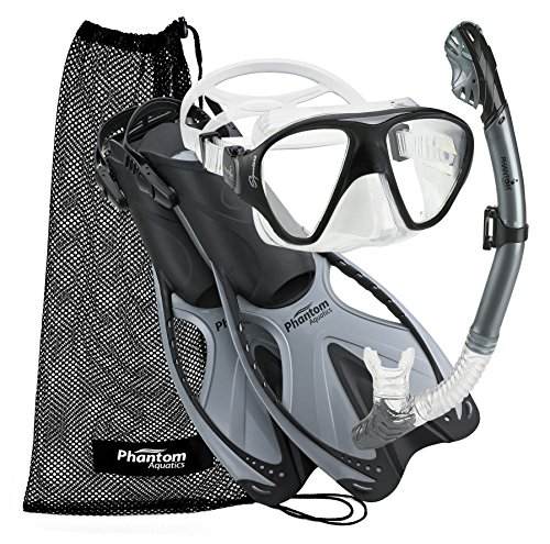 Phantom Aquatics Adult Mask Fin Snorkel Set with Mesh Bag, Silver, Large/X-Large/Size 9 to 13 (Gear Set Package)