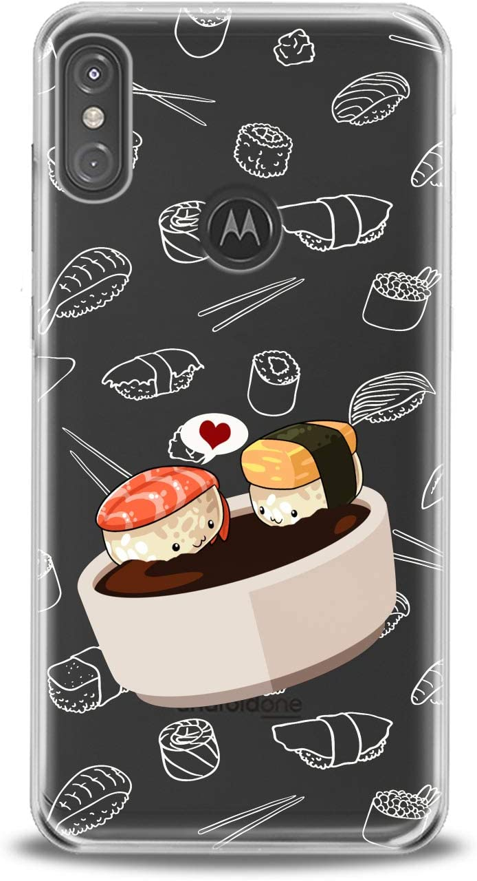 Lex Altern TPU Case Compatible with Motorola Moto G9 G8 G7 One Hyper Z4 P30 P40 Edge Lightweight Heart Kawaii Food Design Print Sauce Clear Pattern Art Soy Girl Cover Slim fit Smooth Soft Sushi Kids