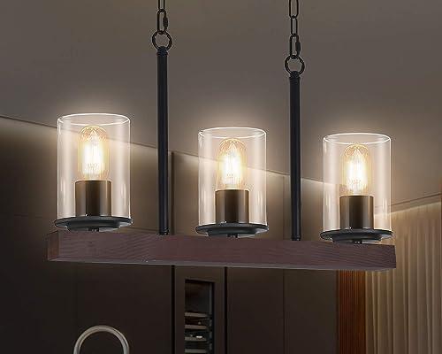 Kitchen Island Light Fixtures,3-Light Farmhouse Wood Linear Pendant Chandelier