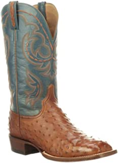 product image for Lucchese Men's Harris Full Quill Ostrich Western Boot Wide Square Toe - Cl1081.W8