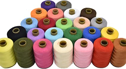 Sewing Thread 24 Colors Sewing Industrial Purpose for Machine and Hand Stitching 1000 Yards Polyester