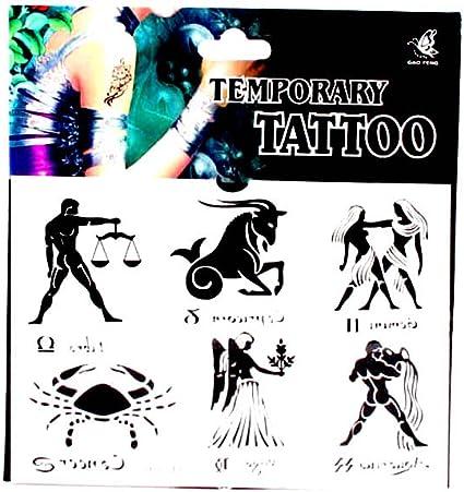 Tatuajes con 6 grandes signo, báscula, Capricornio, Zwilling ...