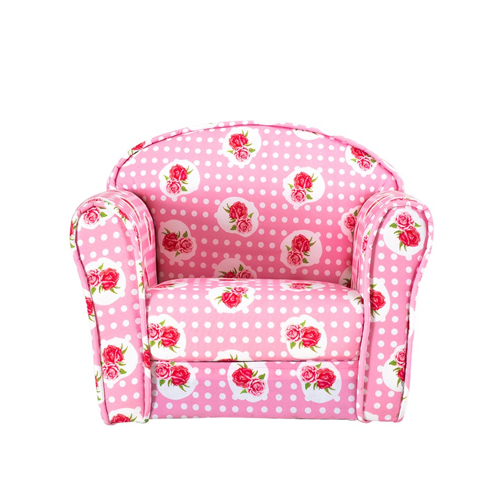 Kids Children's Upholstered Armchairs Girl Boy Bedroom Playroom Seating Chair (Rose) XL