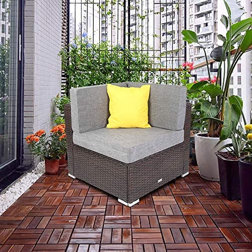 Goujxcy Patio Rattan Corner Sofa with Pillow, Removable Cushioned Seat Backrest Wicker Chair, Indoor Outdoor Garden Porch Leisure Furniture, 29.5 x 29.5 x2, Brown