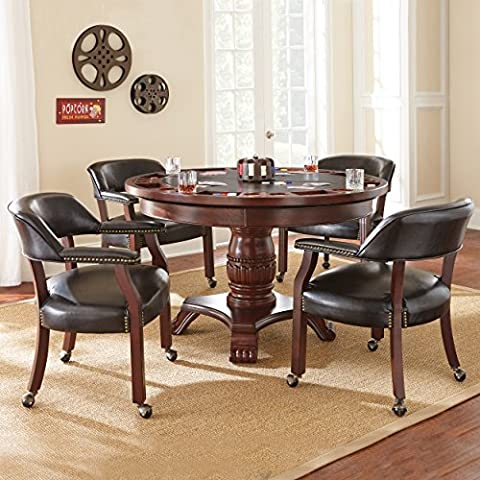 Steve Silver Company Tournament Dining & Game Table, Black - Black Poker Game Table