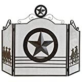 BESTChoiceForYou Star Screen Texas Lone Fireplace Rustic Western Iron Decor New Fire Panel Style