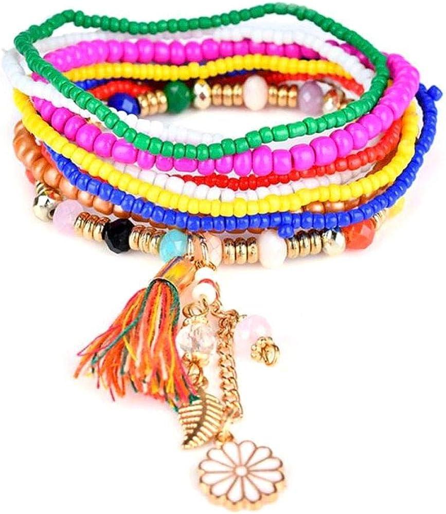 Pulsera de Perlas para Mujer, Pulsera de Piedras Preciosas multicapas, con Pulsera de Perlas de aleación de Gland