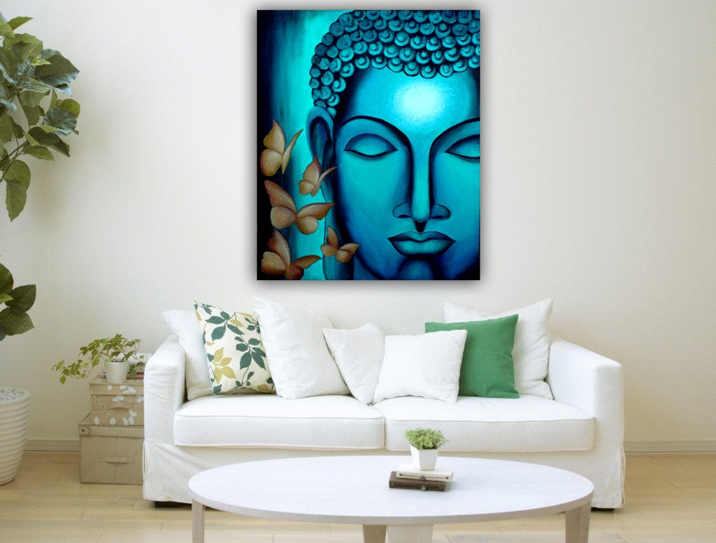 Pixel Artz Canvas Painting - Blue Buddha I - Living Room: Amazon.in ...