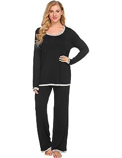Ekouaer Womens Cotton Long Sleeve Sleepwear Two Piece Pajamas Set