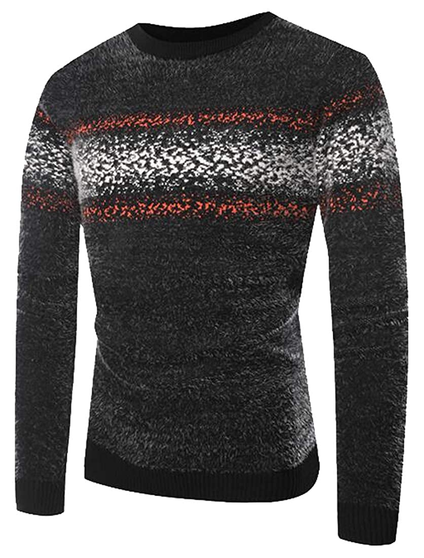 Fensajomon Mens Print Knitted Fluffy Crew Neck Pullover Sweater Jumper Top