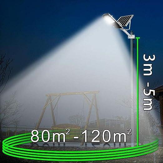 Luz Solar Exterior Jardin, Farola Solar Exterior IP65 Impermeable Lámpara LED De Alto Brillo 100W Con Sincronización De Control Remoto Para Patio Jardín Canalón Arena Área De Seguridad Iluminación: Amazon.es: Hogar