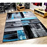 Modern Squares Pattern Contemporary Designer Hard Wearing Home Floor Rugs - Black & Teal 120x170cm by Modern Style Rugs