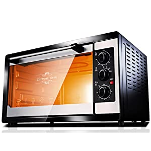 DULPLAY Mini 38l toaster Oven,Best convection, Capacity,Digital dining,Countertop Oven Black Polished stainless Toast Home Kitchen -black 39x33x34.5cm(15x13x14inch)