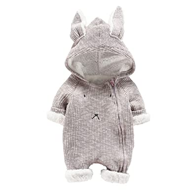 NUWFOR Newborn Infant Baby Boy Girl Cartoon Hooded 3D Ear Romper Jumpsuit Clothes(Gray,