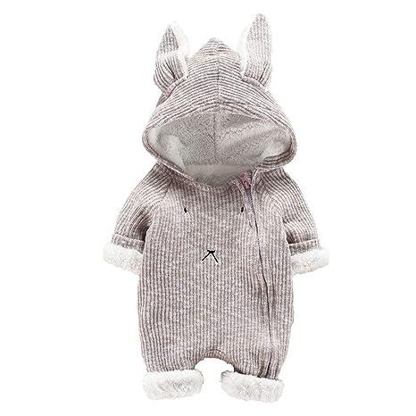 3D Ear Romper Franterd Baby Girls Boys Rabbit Plush Onesie Hoodie Rompers Knit Sweater Jumpsuit Snowsuit