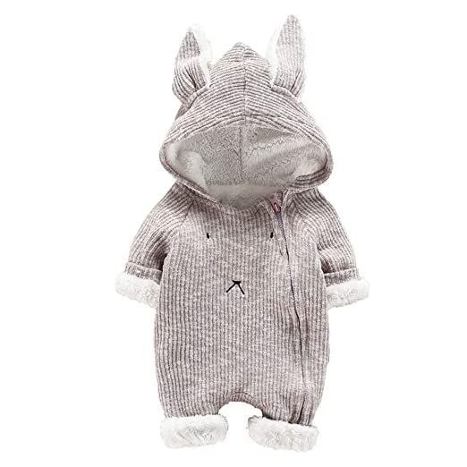 Baulody Newborn Baby Boys Girls Cartoon Hooded 3D Ear Romper Jumpsuit Clothes (Gray, 60