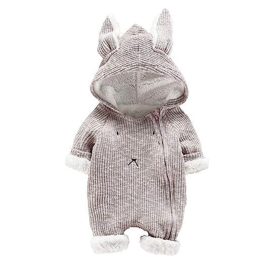 Baulody Newborn Baby Boys Girls Cartoon Hooded 3D Ear Romper Jumpsuit Clothes (Gray, 60