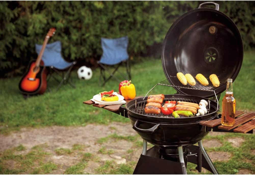 YongFoto 6x4ft Barbecue Photography Backdrop Outdoor Picnic Bokeh Background Food Grill Grassland BBQ Party Banner Family Gathering Activities Decor Kids Adult Portrait Studio Props Wallpaper