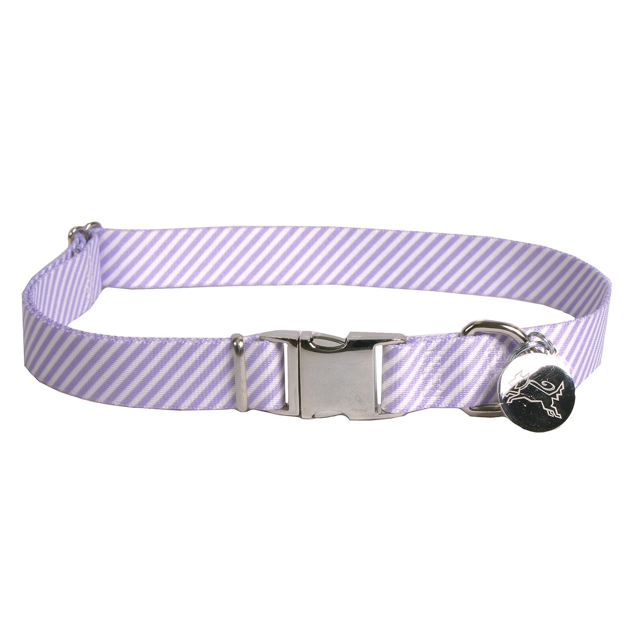 Southern Dawg Seersucker Striped Premium Dog Collar, Purple - Medium 14-20'' length x 3/4'' wide