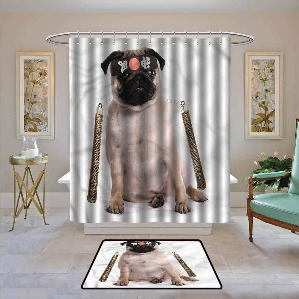Amazon.com: Kenneth Camilla01 Fabric Shower Curtain Pug ...