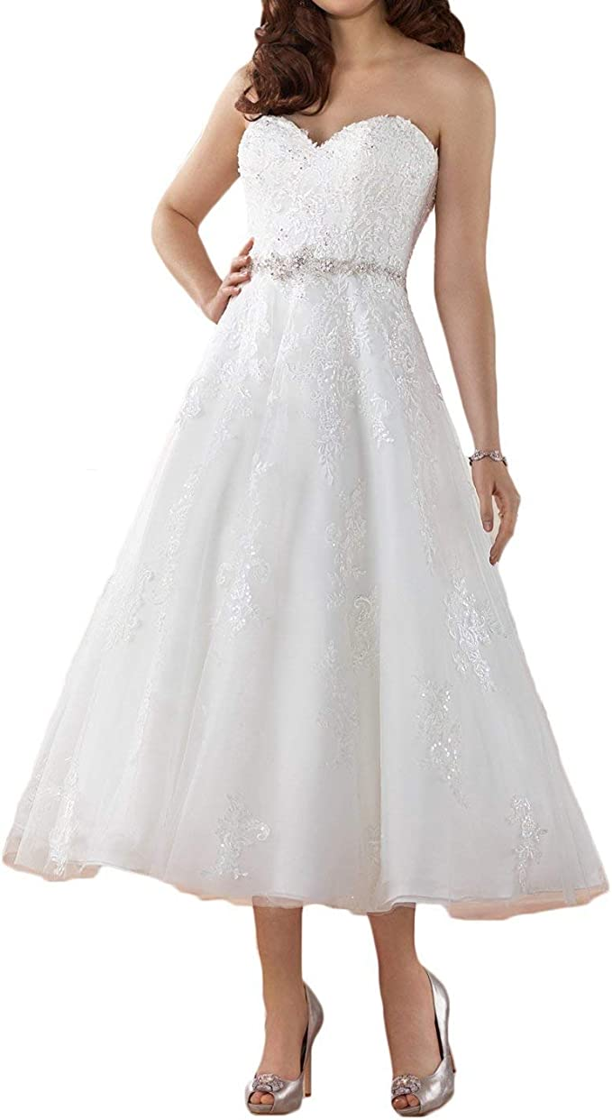 YASIOU Hochzeitskleid Damen Herzausschnitt A Linie Kurz Spitze
