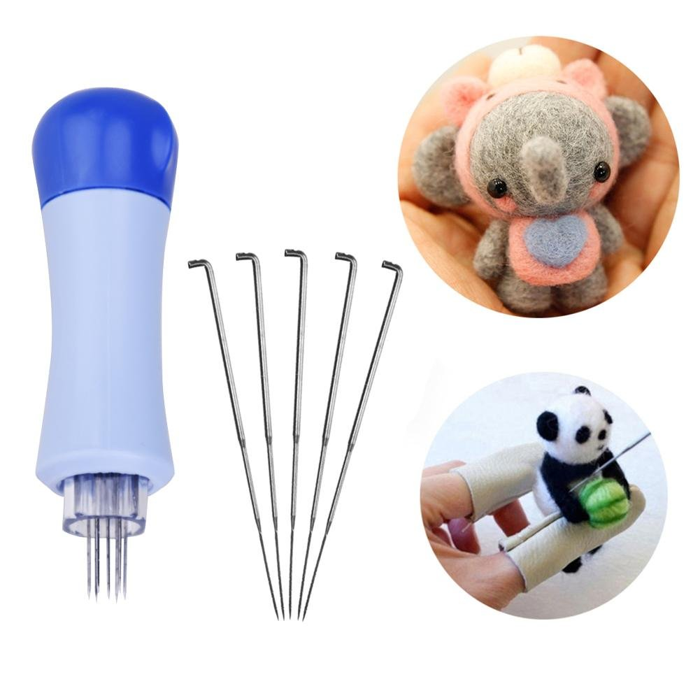 Whitelotous Needle Felting Handle Clover with 7 Needles Wool Tool Applique Craft Kit/…