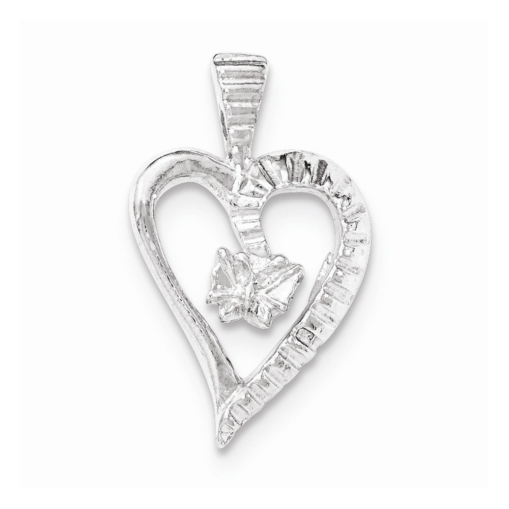 Sterling Silver Polished /& Textured Cut-out Heart Butterfly Chain Slide