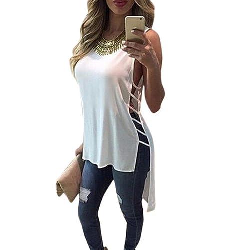 Tongshi Camisa sin mangas para mujer ocasional de la gasa del chaleco de la blusa de las tapas del t...