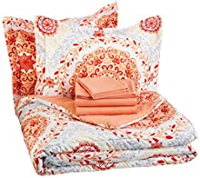 AmazonBasics 7-Piece Light-Weight Microfiber Bed-In-A-Bag Comforter Bedding Set - Full or Queen, Coral Medallion