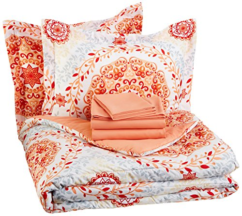 AmazonBasics 7-Piece Bed-In-A-Bag, Full / Queen Bedding Comforter Sheet Set, Coral Medallion (Coral Cover Duvet)