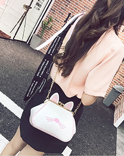 XMLiZhiGu Cat Bags 1 Girls' White Bag Leather Cute Shoulder Handbag Kitty Pu Purse Ear Women's Crossbody rrz4Aw6