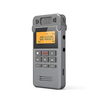 Grabadora de Voz Digital Portátil, COOAU 16GB Recargable Carcasa Metálica con Grabación de Micrófono Doble