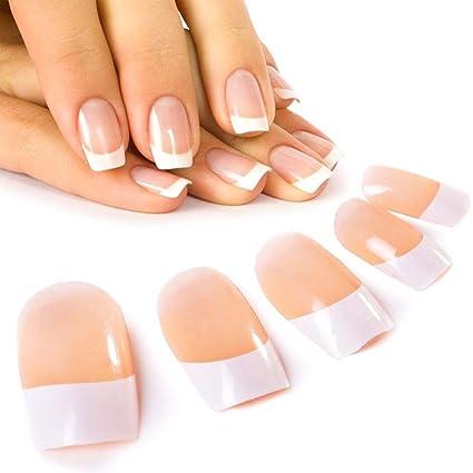 Cálido Haven 24 pcs elegante cute francés manicura uñas postizas con pegamento Full Cover largo Longitud