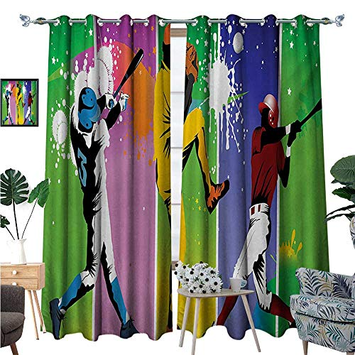 Baseball Room Darkening Wide Curtains Players in Different Positions in Playground Action Catcher Pitcher Modern Sports Decor Curtains by W108 x L84 Multicolor