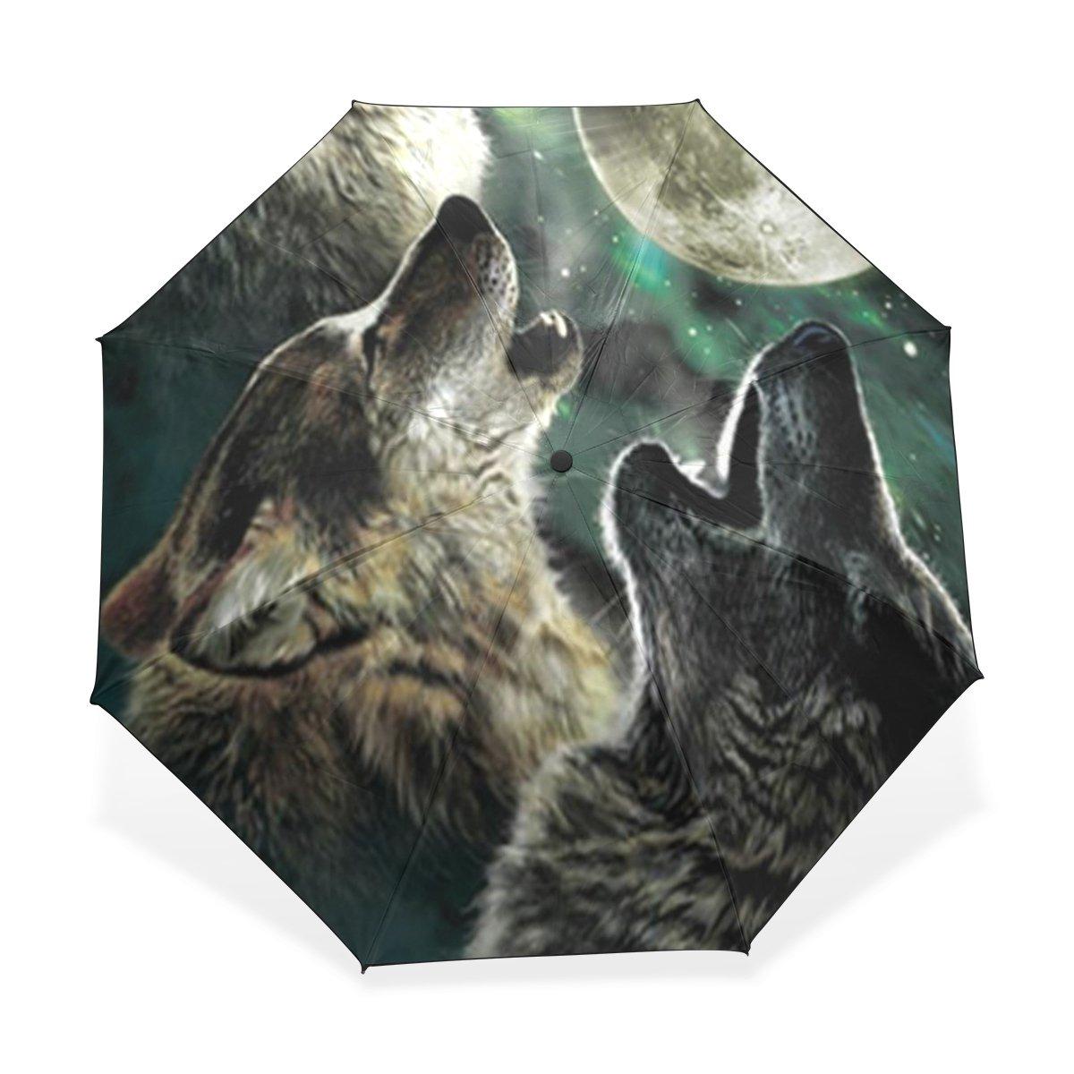 JSTEL Wolf Pattern Windproof & Waterproof Compact Travel Umbrella Anti-UV Protective Canopy Parasol UPF 50+ Sun Block Umbrella Summer Shady Folding Sun Umbrella