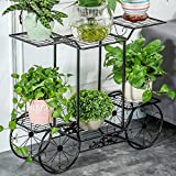 Iron Art Multi - Storey Flower Rack European - Style Floor - Style Mounted Flower Pots Rack Balcony Living Room Multi - Functional Plant Display Stand ( Color : Black )