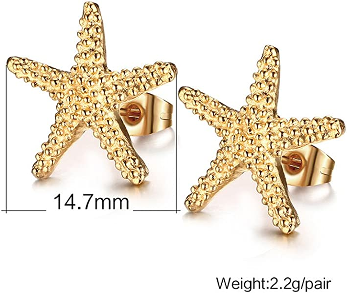 a7777963d Jewelry Stainless Steel Trendy Starfish Shape Ear Stud Earring for  Women,Gold Plated,15mm