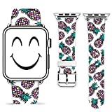 Iwatch 38mm Band,Gifun Leather Strap Wrist Band Replacement Metal Clasp for iWatch - Beautiful Pineapple Pattern
