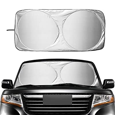 Windshield Sun Shade for SUVs, Trucks and Vans. 210T Reflective Polyester Blocks Heat and Sun. Foldable Sun Shield That Keeps Your Vehicle Cool(Large 63x33.8 in): Automotive