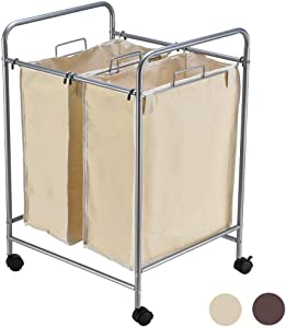 JEFEE Laundry Sorter Cart kaundry Sorter Divided Hamper with Heavy Duty Rolling Wheels, Heavy Duty Double Bag Laundry Sorter Cart for Clothes Storage, Cream…