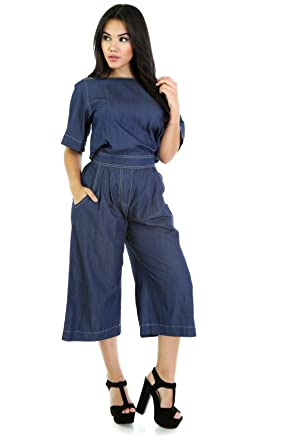 cd49ba7070c Amazon.com  GITI ONLINE Chambray Babe Culotte Jumpsuit L Denim  Clothing