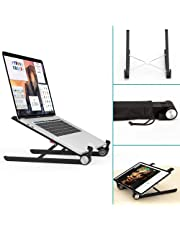 Laptop Stand,Klearlook Foldable Portable Ventilated Desktop Laptop Holder,Universal Lightweight&Space-save&Adjustable Ergonomic Tray Mount Compatible with iM(ac)/Laptop/Notebook Computer/Tablet-Black