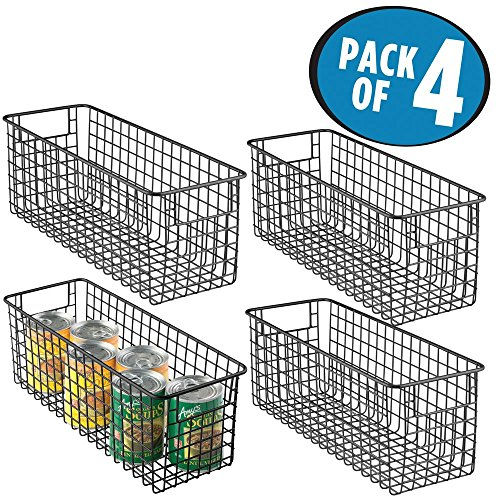 mDesign Deep Wire Storage Basket for Kitchen, Pantry, Cabinet - Pack of 4, Matte Black