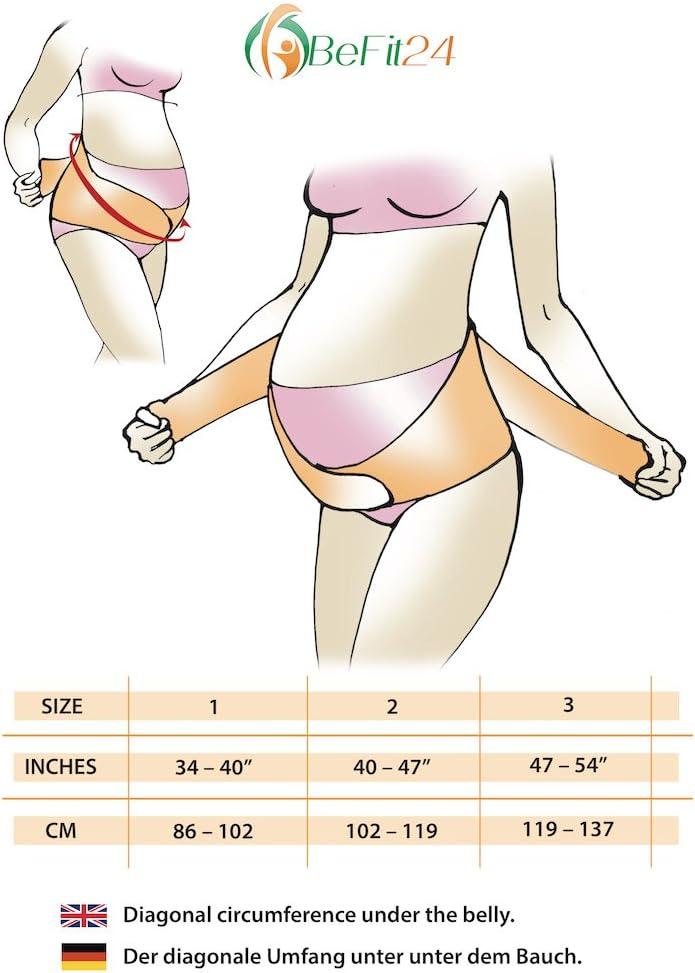 Cintura Sostegno di Prenatale e Maternita Size 1 - Nero Belly Belt - /®BeFit24 Pancera Gravidanza e Post Parto 2-in-1- Fascia Premaman